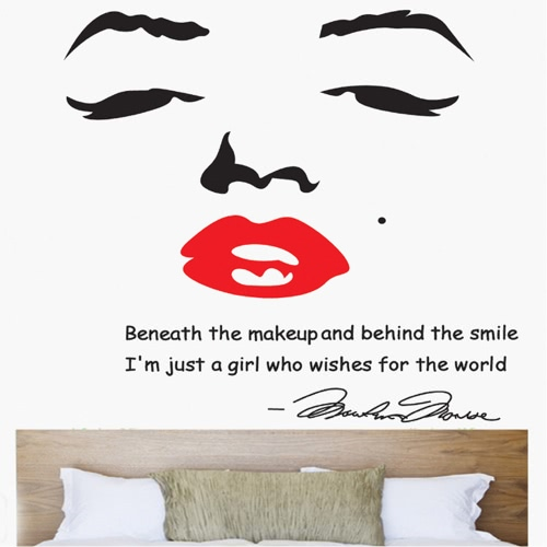 Portrait Of Marilyn Monroe DIY Wall Wallpaper Stickers Art Decor Mural Room  Decal Part 37