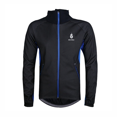 WOLFBIKE Men Fleece Thermal Winter Cycling Jacket Windproof Bike Bicycle Wind Coat Clothing Casual Long Sleeve Jersey Waterproof Blue XL