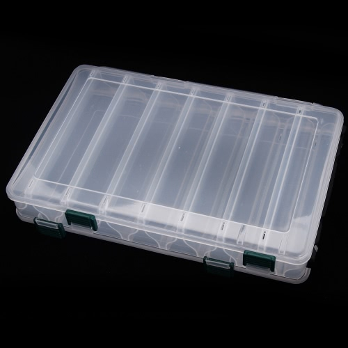 27*18*4.7CM Double Sided High Strength Transparent Visible Plastic Fishing Lure Box 14 Compartments with Drain Hole Fishing Tackle от Tomtop.com INT