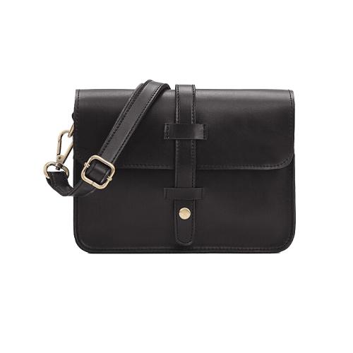 Buy Fashion Women Vintage Shoulder Bag PU Leather Solid Color Messenger Crossbody Bags Satchel Tote Black