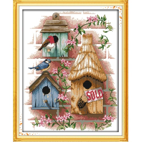 Buy DIY Handmade Needlework Counted Cross Stitch Set Embroidery Kit 14CT Log Cabin Pattern Cross-Stitching 37 * 44cm Home Decoration