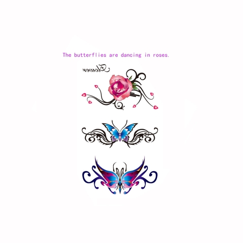 Tattoo Sticker Rose Butterfly Pattern Waterproof Temporary Tattooing Paper Body Art от Tomtop.com INT