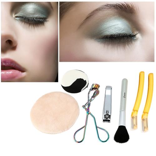 Buy Makeup Suits Eyebrow Brush Nail Cut Eyelash Curler Powder Puff Beauty Tools Kit Set Colors Random