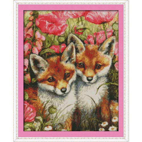 DIY Handmade Needlework Counted Cross Stitch Set Embroidery Kit 14CT Lovely Foxes Pattern Cross-Stitching 35 * 44cm Home Decoration от Tomtop.com INT