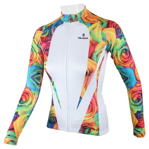 Buy Paladin Sportswear Women's Spring Summer Autumn Style 100% Polyester Long Sleeved Outdoor Rose Cycling Jersey Breathable Clothes