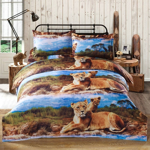 Buy 3D Printed Bedding Set Bedclothes Lion Pattern Queen Size Duvet Cover+Bed Sheet+2 Pillowcases Home Textiles