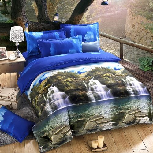Buy 3D Printed Bedding Set Bedclothes Mountain Stream Queen Size Duvet Cover+Bed Sheet+2 Pillowcases Home Textiles