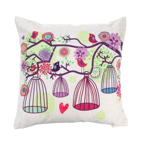 Buy Fresh Rural Style Trees Birdcage Cotton Linen Pillowcase Back Cushion Cover Throw Pillow Case Bed Sofa Car Home Decorative Decor 45 * 45cm