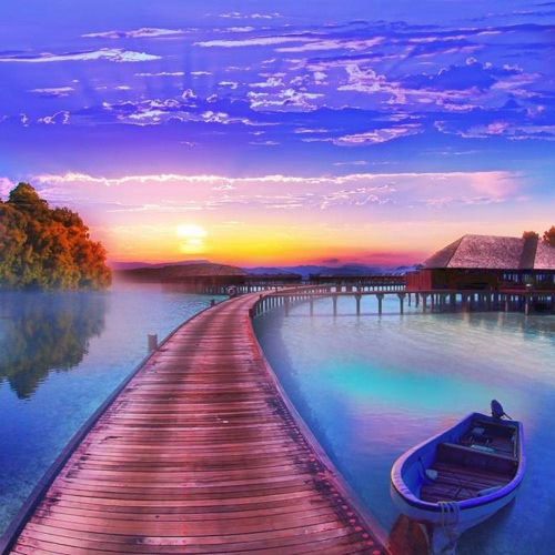 DIY Handmade Diamond Painting Set Cabin Lake Boat Resin Rhinestone Pasted Cross Stitch for Home Decoration 35*35cm от Tomtop.com INT