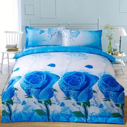 Buy 3D Reactive Printed Bedding Set Bedclothes Suit Queen Size Duvet Cover+Bed Sheet+2 Pillowcases Home Textiles