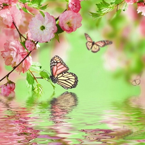 DIY Handmade Diamond Painting Set Butterflies on the Lake Resin Rhinestone Pasted Cross Stitch for Home Decoration 35*35cm от Tomtop.com INT