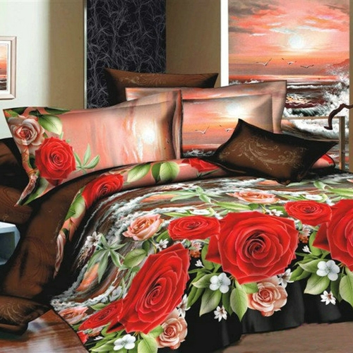 Buy 3D Printed Bedding Set Bedclothes Red Pink Rose Leaf Queen/King Size Duvet Cover+Bed Sheet+2 Pillowcases