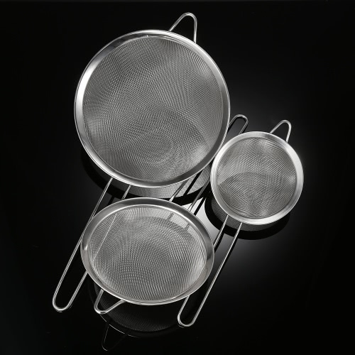 3pcs/set Solid Durable Stainless Steel Fine Mesh Strainer Sifter High-end Kitchen Utensil Set Food Strainers