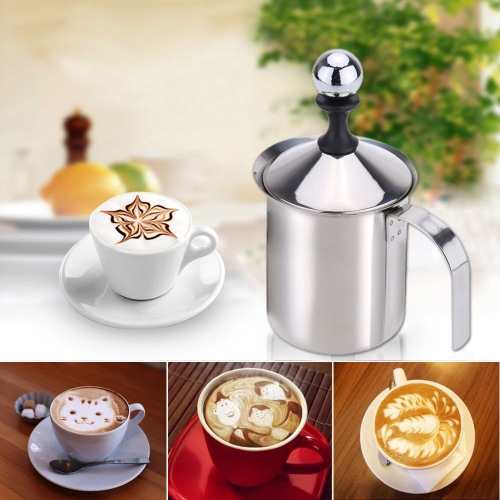 Buy 400ml Stainless Steel Milk Frother Double Mesh Foamer DIY Fancy White Coffe Creamer Cappuccino Latte
