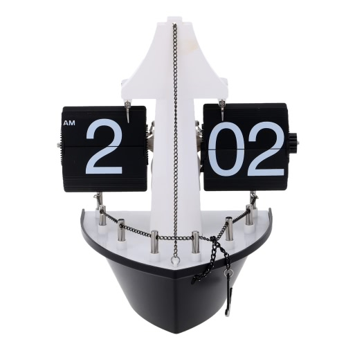 Buy Steamship Table Clock Hand-made Aircraft Shape Retro Gear Operated Flip Wall Living Room Home Decor Special Creativity Gift
