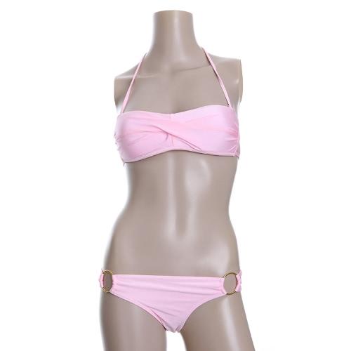 Fashion Sexy Bikini Set Swimwear Swimsuit Beachwear Ruched Strapless Padded Bandeau Top Pink