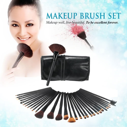 Buy 3Professional Makeup Brush Set Essential Cosmetic Make Brushes Kit Black Powder Eyeshadow Eyeliner Eyebrow + Leather Bag