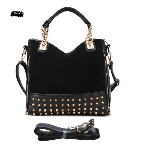 Buy Korean Fashion Women Lady Rivet Studded Handbag Tote Shoulder Hobo Shoppers Messenger Bag Black
