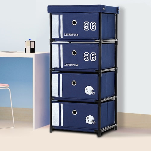 Buy IKAYAA Office Style Fabric 4-Drawer Home Storage Cabinet Organizer Clothes Toys Sockets Box