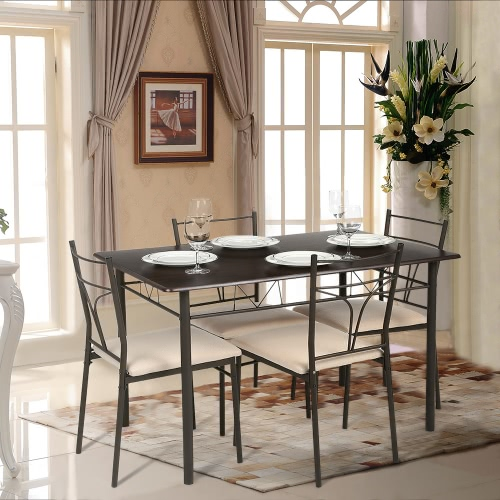 iKayaa 5PCS Modern Metal Frame Dining Kitchen Table Chairs Set for 4 Person Kitchen Furniture 120kg Load Capacity от Tomtop.com INT