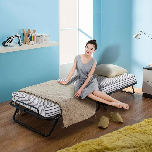 iKayaa Metal+Wood Rollaway Single Folding Guest Bed Cot with Mattress & Cover 360°Casters 110kg Capacity от Tomtop.com INT