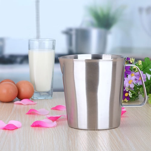 1500ML Stainless Steel Milk Pitcher Jug Milk Foam Container Measuring Cup Coffee Kitchen Tool