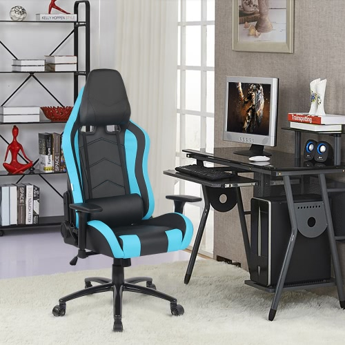 Buy iKayaa Ergonomic Racing Style Gaming Office Chair Cool Executive Computer W/ Recline Height & Armrest Adjustable Tilt Swivel Function + Headrest Waist Pillow