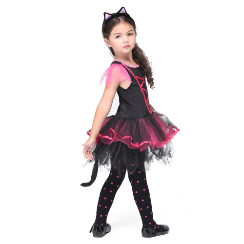 Festnight Fun & Fancy Princess Costumes Christmas Day Halloween Girls Dress Cat Suit Cute Catwoman Cosplay Costume Party Clothes от Tomtop.com INT