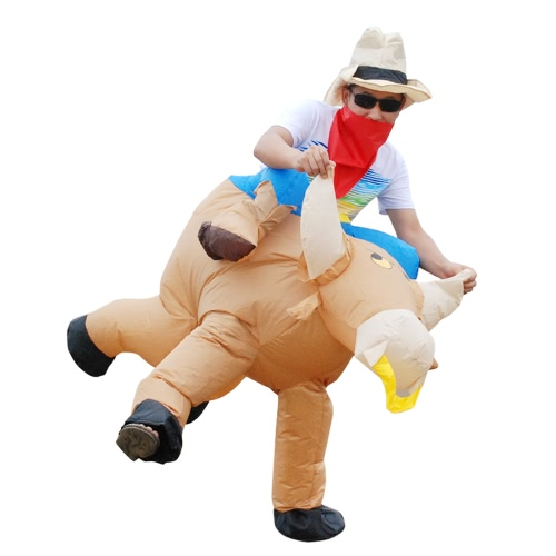 Anself Cute Children Inflatable Cattle Costume Suit Blow Up Fancy Dress Festival Party Inflatable Bull Outfit Jumpsuit Lovely Inflatable Animal Costume For Kids