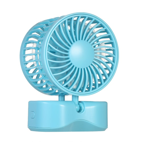 Buy Portable Double-head USB Rechargeable Couple Fan Foldable 180u00b0 Rotation Adjustable Wind Speed Desktop Cooling Base White