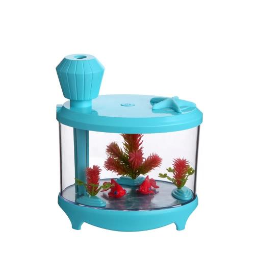 Novel Fish Tank LED Night Light Household Ultrasonic Air Humidifier Aquarium Small Cylinder Air Purifier Misting Maker Lamp High Capacity Sprayer USB Mini Fresh Filter
