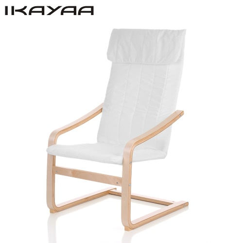 Buy iKayaa Contemporary Wooden Reclining Bentwood Chair Solid Birch Wood Lounge Cushion Comfortable Armchair