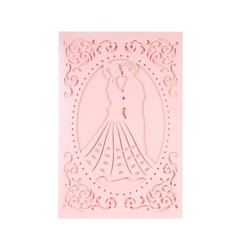 Buy 20pcs/set Wedding Invitation Card Set Pearl Paper Laser Cut Bridal Bridegroom Pattern Cards Anniversary Pink