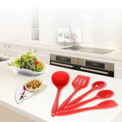 High Quality 5pcs Silicone Kitchenware Suit Kitchen Tools Set Spatula Spoon Slotted Turner Ladle Cooking Utensils