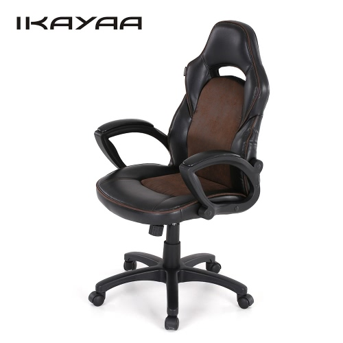 Buy iKayaa Fashion PU Leather Racing Style Executive Office Chair Adjustable 360u00b0Swivel High Back Computer Task Desk W/ Bucket Seat Tilt Lock
