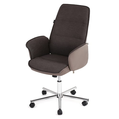 Buy iKayaa Fashion PU Leather + Fabric Executive Office Chair Adjustable 360u00b0Swivel Computer Task Desk 120KG Load Capacity W/ Tilt Lock