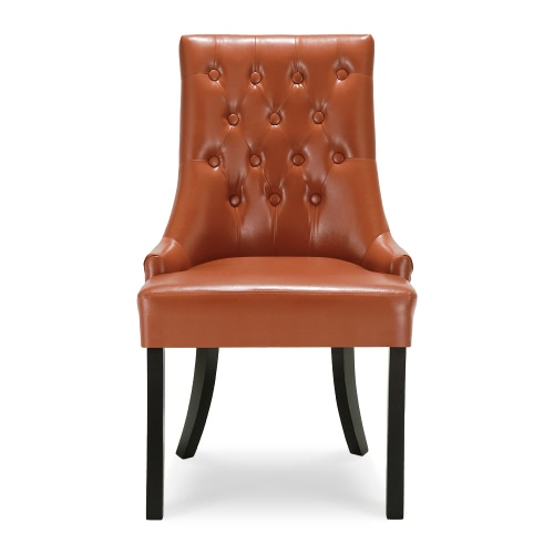 Buy iKayaa Antique Style Scoop Back Tufted Kitchen Dining Chair PU Leather Padded Accent Side Living Room W/ Rubber Wood Legs