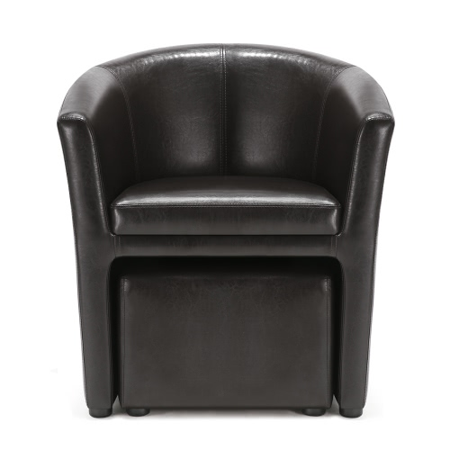 Buy iKayaa Contemporary PU Leather Barrel Tub Chair Armchair Ottoman Accent Club Living Room Furniture W/ Rubber Wood Legs