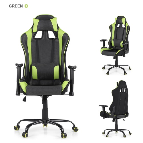 Buy iKayaa Ergonomic Racing Style Gaming Office Chair Swivel Executive Computer Bucket Seat W/ Recline Height & Armrest Adjustable Tilt Function + Head Rest Lumbar Support
