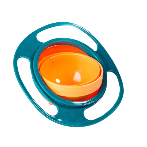 360 Degree Rotate Universal Gyro Spill-Proof Snack Bowl Dishes Practical Design Children Kids Infants Baby Toy Dinner Plate Flying Saucer Toddlers Feeding Assist Food Tableware