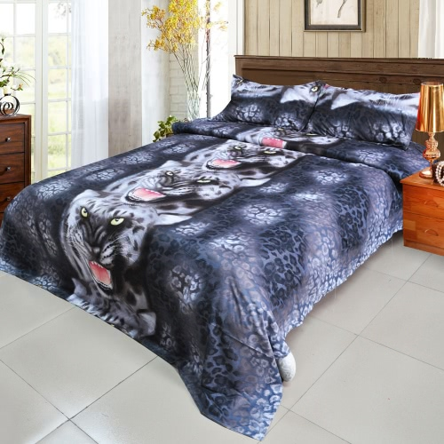 Buy 3D Printed Bedding Set Bedclothes Black Tiger Queen/King Size Duvet Cover+Bed Sheet+2 Pillowcases