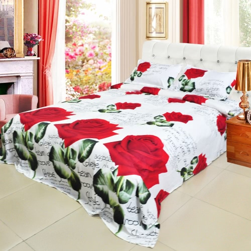 Buy 3D Printed Bedding Set Bedclothes Red Rose Full Bloom Queen/King Size Duvet Cover+Bed Sheet+2 Pillowcases
