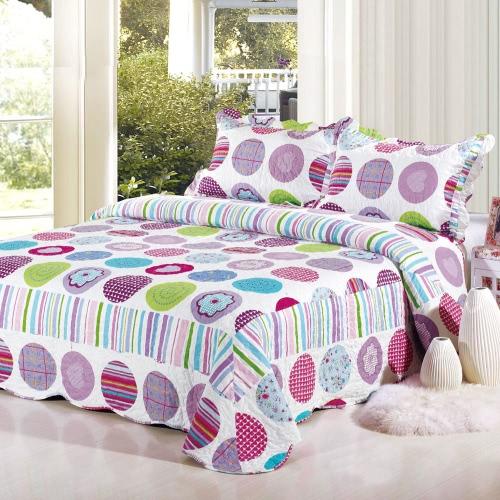 3Pcs Bedding Set 230 * 230 CM  Printed Flower Plant Cording Pattern Polyester Fiber Patchwork Quilt Comforter Pillow Cases Bedclothes Home Textiles от Tomtop.com INT