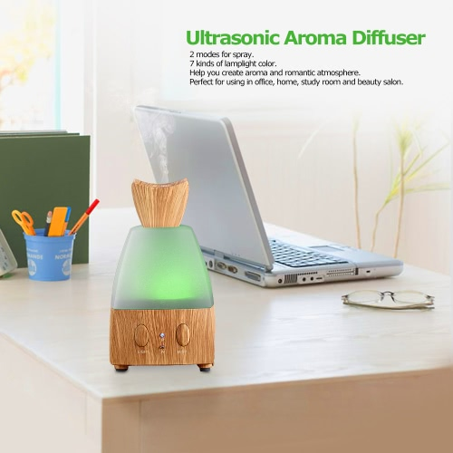 Ultrasonic Diffuser for Aroma 7 Colour Transformable Air Humidifier Machine Voice-activated Diffuser for Essential Oil 12W EU Plug Brown & White