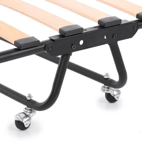 iKayaa Metal+Wood Rollaway Single Folding 110kg Capacity Guest Bed Cot от Tomtop.com INT