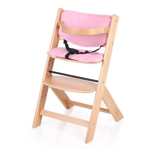Buy iKayaa Toddler Baby Wooden High Chair Cushion Height Adjustable Beech Wood Highchairs Kids Infant Feeding Dining
