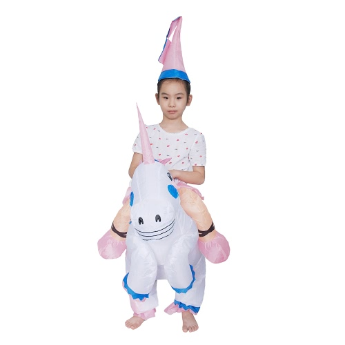 Anself Cute Children Inflatable Unicorn Costume Suit Blow Up Fancy Dress Festival Party Lovely Inflatable Pegasus Outfit Jumpsuit Horse Inflatable Animal Costume For Kids