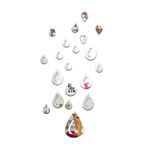 Buy 2Modern Design Adhesive Waterdrop Raindrop Tear 3D DIY Wall Mirror Room Bedroom Kitchen Bathroom Stick Decal Home Party Decoration Decor Art Mural Stickers