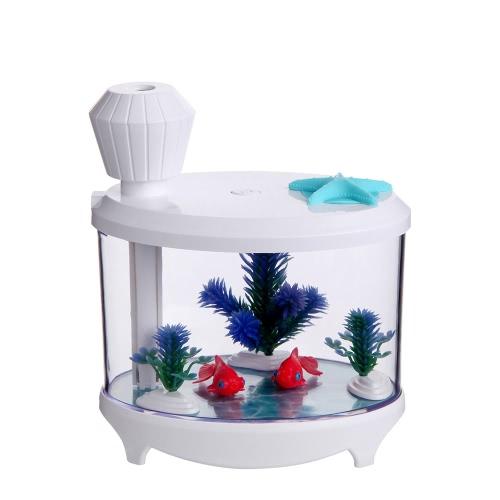 Buy Novel Fish Tank LED Night Light Household Ultrasonic Air Humidifier Aquarium Small Cylinder Purifier Misting Maker Lamp High Capacity Sprayer USB Mini Fresh Filter