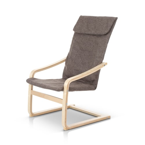 Buy iKayaa Contemporary Reclining Bentwood Chair 286LB Capacity Natural Birch Wood Lounge Comfortable Armchair
